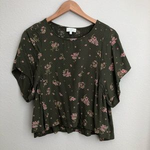 Lucky Brand green floral crop top size XS